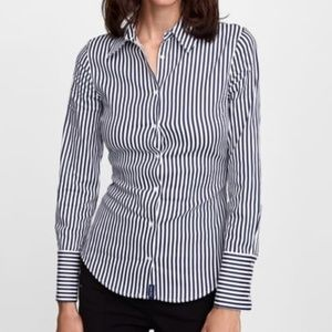 Zara Blue Striped Button Down Shirt Medium